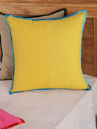 Hand Spun & Hand Woven Checks in Yellow Cushion Cover 19in x 19in