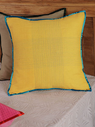 Hand Spun & Hand Woven Cross  in Yellow Cushion Cover 19in x 19in