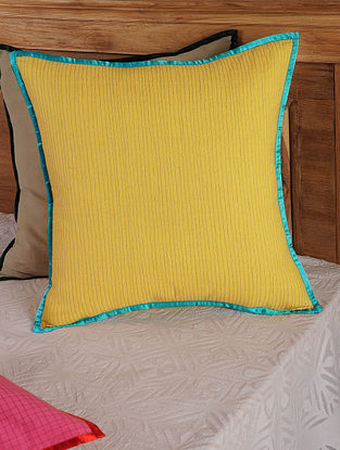 Hand Spun & Hand Woven Lines  in Yellow Cushion Cover 19in x 19in