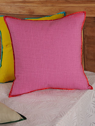 Hand Spun & Hand Woven Check in Pink Cushion Cover 19in x 19in