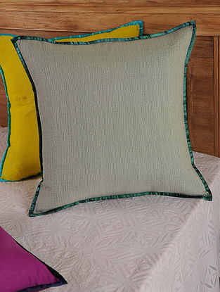 Hand Spun & Hand Woven Lines in Grey Cushion Cover 19.5in x 19.5in