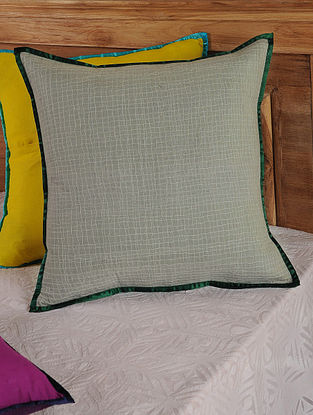 Hand Spun & Hand Woven Checks in Grey Cushion Cover 19in x 19in