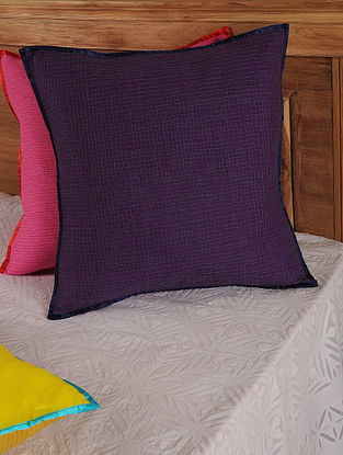 Hand Spun & Hand Woven Checks in Purple Cushion Cover 19in x 19in