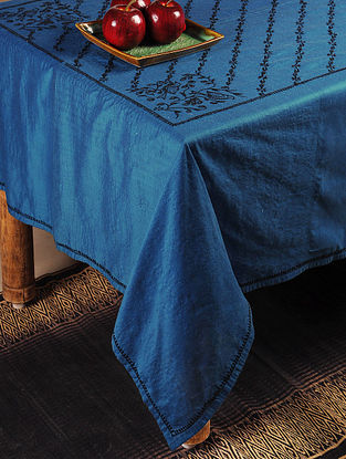Parrot Chikankari Embroidery in Midnight Blue Table Cloth 102in x 72in
