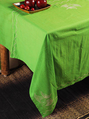 Fish Chikankari Embroidery in Green Table Cloth 70in x 70in