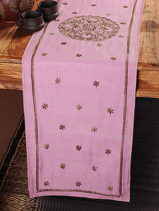 Plates Chikankari Embroidery in Pink Table Runner 100in x 12in