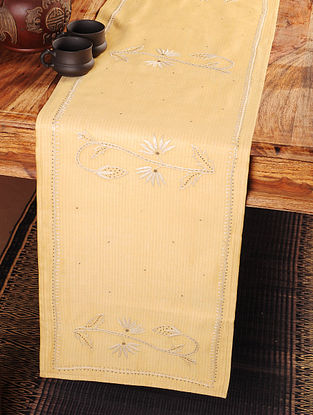 Mugal Flower Chikankari Embroidery in Yellow Table Runner 104in x 12in