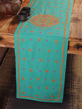 Plates Chikankari Embroidery in Turquoise Table Runner 106in x 12in