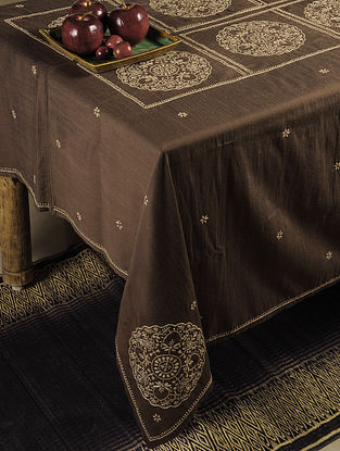 Parrot Chikankari Embroidery in Chocolate Table Cloth 68in x 35in