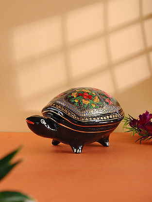 Multicolored Hand-painted Paper Mache Jewelry Box with Turtle Design (L:6.6in, W:4.2in, H:3.5in)