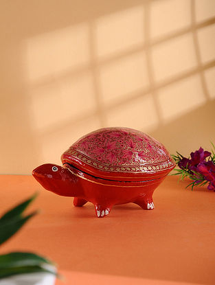 Multicolored Hand-painted Paper Mache Jewelry Box with Turtle Design (L:6.7in, W:4in, H:3.2in)