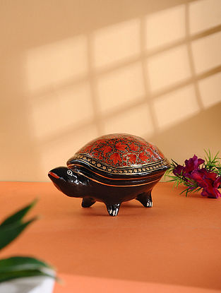 Multicolored Hand-painted Paper Mache Jewelry Box with Turtle Design (L:6.6in, W:4in, H:3.2in)