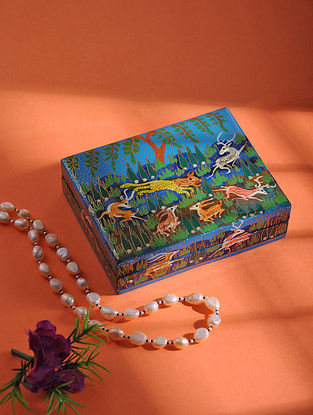 Multicolored Hand-painted Paper Mache Jewelry Box (L:5in, W:3.7in, H:1.2in)