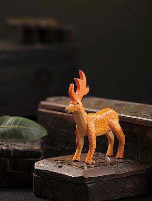 Orange Hand-painted Paper Mache Deer (4.1in x 1.1in)