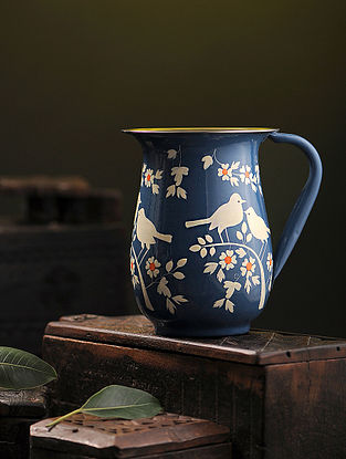 Blue-White Hand-painted Stainless Steel Jug (6.7in x 5.3in)
