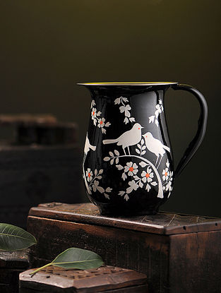 Black-White Hand-painted Stainless Steel Jug (7in x 5.3in)