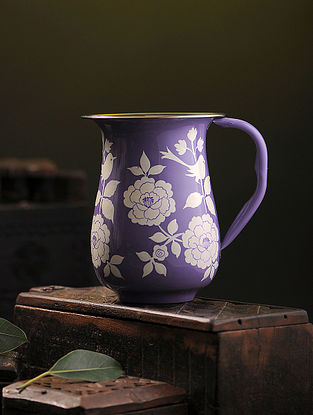 Purple-White Hand-painted Stainless Steel Jug (6.7in x 5.3in)