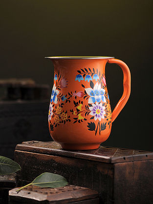 Multicolored Hand-painted Stainless Steel Jug (6.6in x 5.2in)
