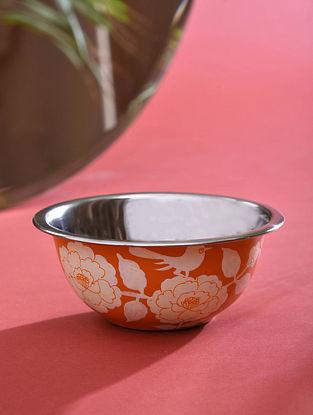 Orange Hand-painted Steel Bowl (Dia - 5.5in, H - 2.3in)
