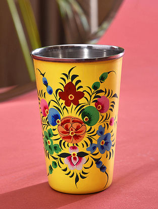 Yellow Hand-painted Steel Glass (Dia - 3.1in, H - 4.6in)