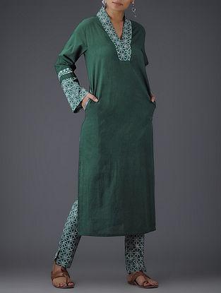 Green-Ivory Block-printed V-neck Cotton Kurta
