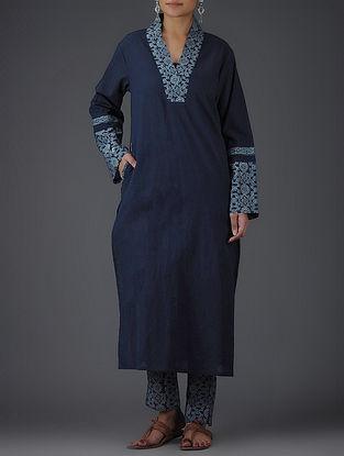 Blue-Ivory Block-printed V-neck Cotton Kurta