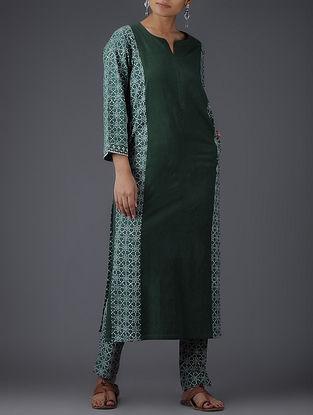 Green-Ivory Block-printed Paneled Cotton Kurta