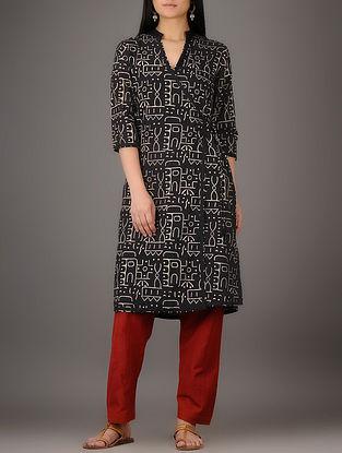 Black-Cream Natural-dyed Block-printed Angrakha Cotton Kurta