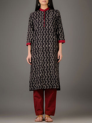 Black-Cream Natural-dyed Block-printed Mandarin Collar Cotton Kurta
