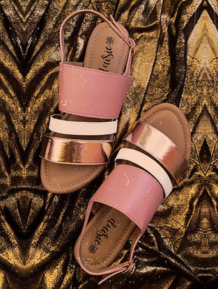 Pink Gold Handcrafted Vegan Leather Sandals