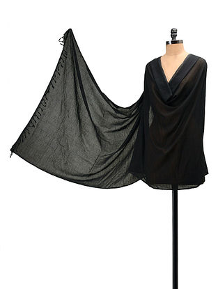 Black Handloom Cotton Natural Dyed Dupatta