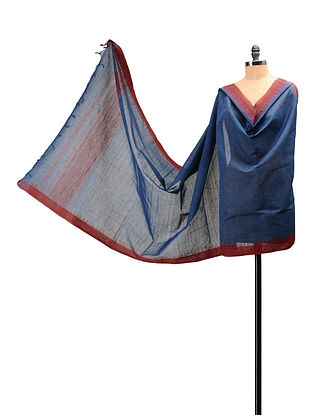 Blue, Red Handloom Cotton Natural Dyed Dupatta