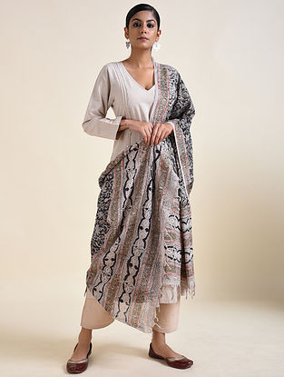 Ivory-Black Kalamkari printed Cotton Dupatta
