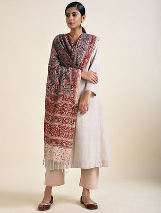 Red-Blue Kalamkari printed Cotton Dupatta