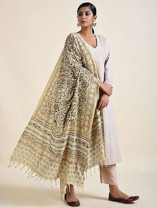Ivory-Mustard Kalamkari printed Cotton Dupatta