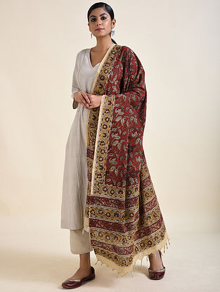 Brown-Yellow Kalamkari printed Cotton Dupatta