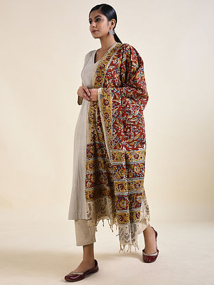 Ivory-Yellow Kalamkari printed Cotton Dupatta