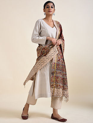 Ivory-Red Kalamkari printed Cotton Dupatta