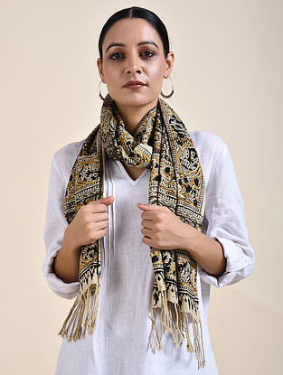 Beige-Black Kalamkari printed Cotton Stole