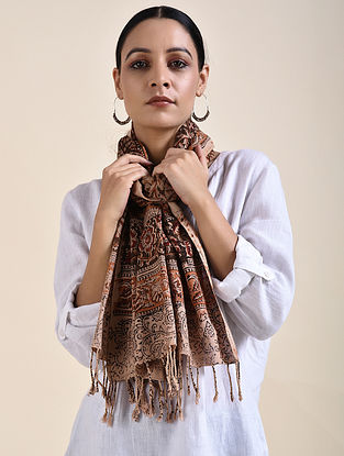 Brown Kalamkari printed Cotton Stole