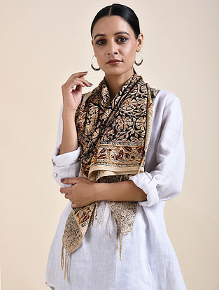 Beige-Blue Kalamkari printed Cotton Stole