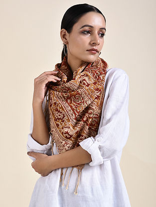 Beige-Rust Kalamkari printed Cotton Stole