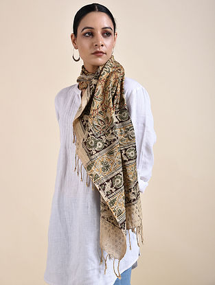 Beige-Brown Kalamkari printed Cotton Stole