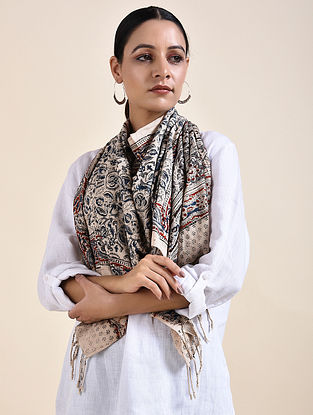 Ivory-Grey Kalamkari printed Cotton Stole