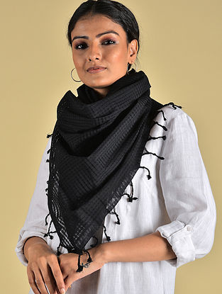 Black Handwoven Missing check Cotton Stole