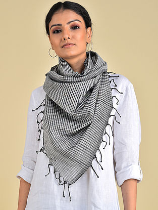 Black-White Handwoven Missing check Cotton Stole