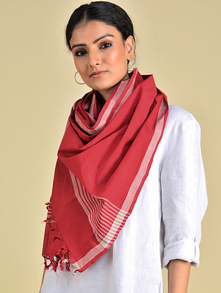 Red-White Handwoven Cotton Stole