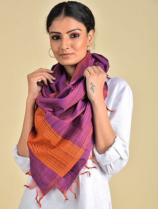 Purple-Orange Handwoven Missing Stripe Cotton Stole