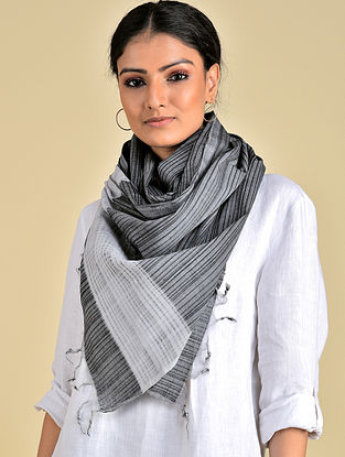 Grey-Black Handwoven Missing Stripe Cotton Stole