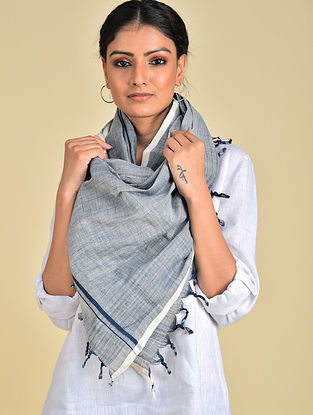Blue-White Handwoven Cotton Stole